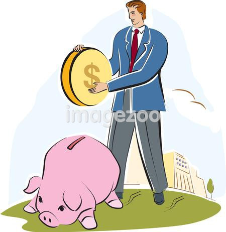 A man putting a large coin into a piggy bank