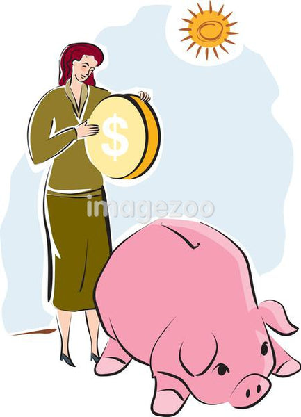 A woman putting a large coin into a piggy bank