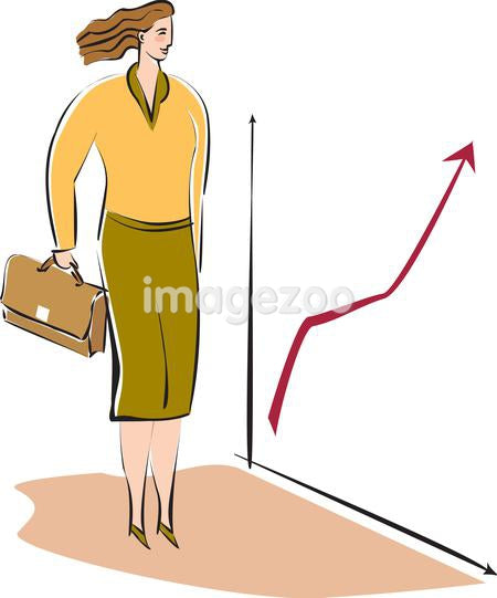 A business woman looking at a graph