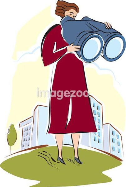 A woman looking through large binoculars