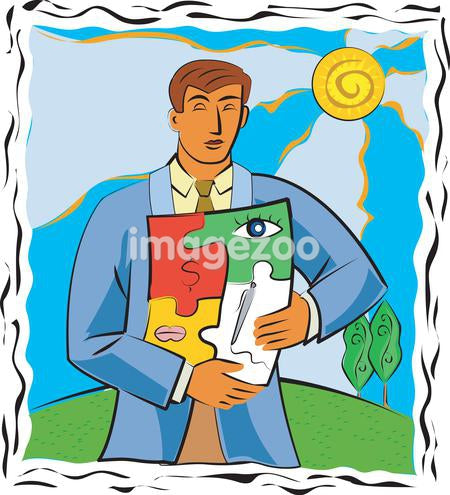 A businessman with a puzzle