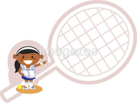 A girl pointing to a tennis racket
