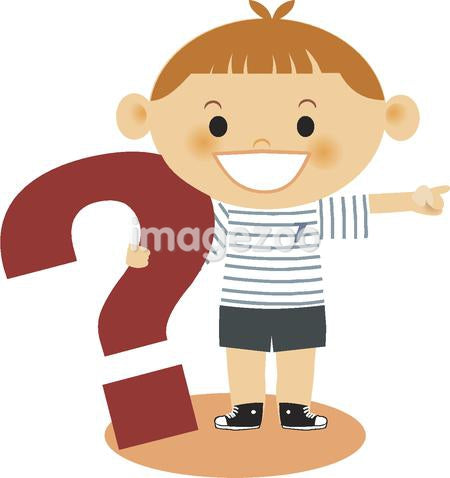 A boy holding onto a question mark