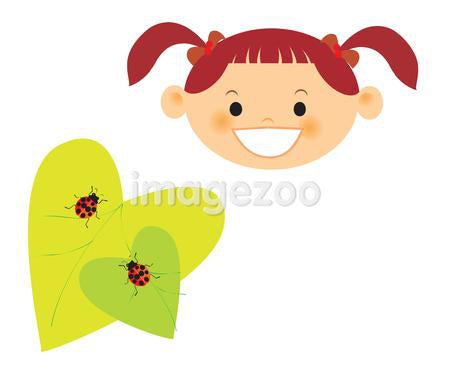A girl and ladybugs on leaves