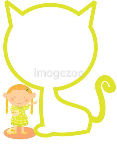A girl near an outline of a cat.