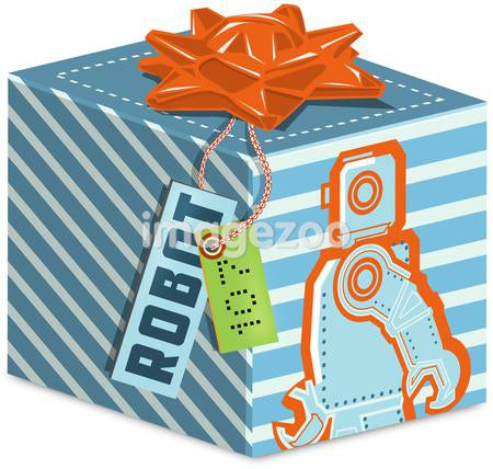 A gift box with a robot on it