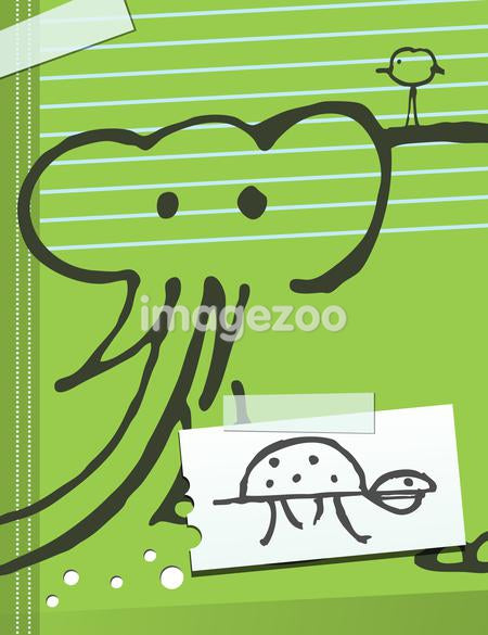 Doodles of an elephant, bird and bug on a notebook cover
