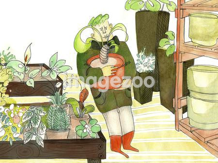 A watercolor painting of a man shopping for plants