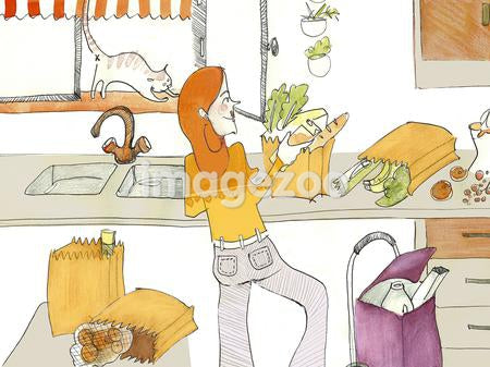 A watercolor painting of a woman unpacking groceries in her kitchen