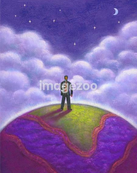 A man standing on the earth surface under a starry sky