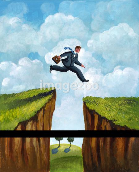 A picture of a businessman running across two cliffs
