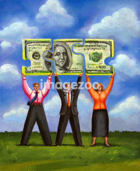 Three people lifting a Dollar bill
