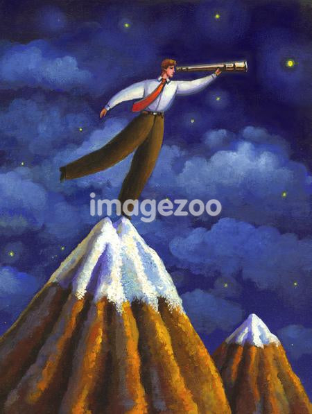 A man on a mountain top looking through his telescope