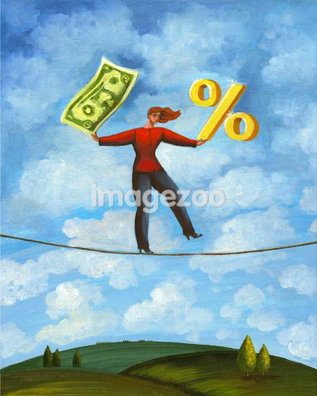 A woman balancing on a rope while holding a dollar bill and a percentage sign