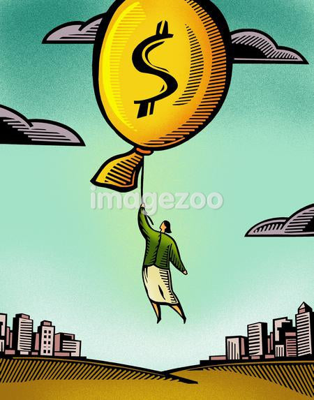 A businesswoman floating by a balloon with a dollar sign
