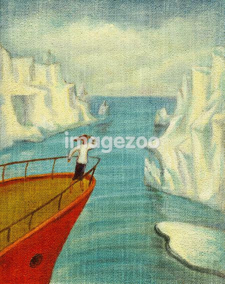 A businesswoman on a ship looking at the icebergs in the water
