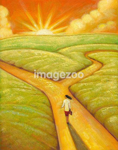 An illustration of a woman arriving at a crossroads