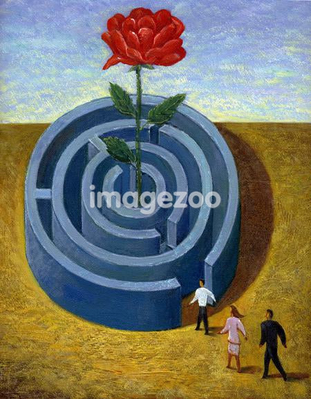 Businesspeople trying to get to a giant rose in the middle of a maze