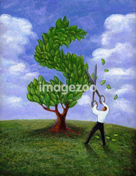 Businessman cutting and shaping a tree to a dollar sign