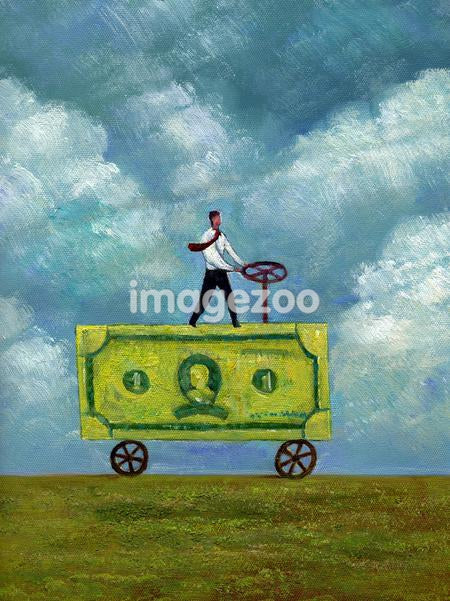 Businessman driving a truck made of banknote