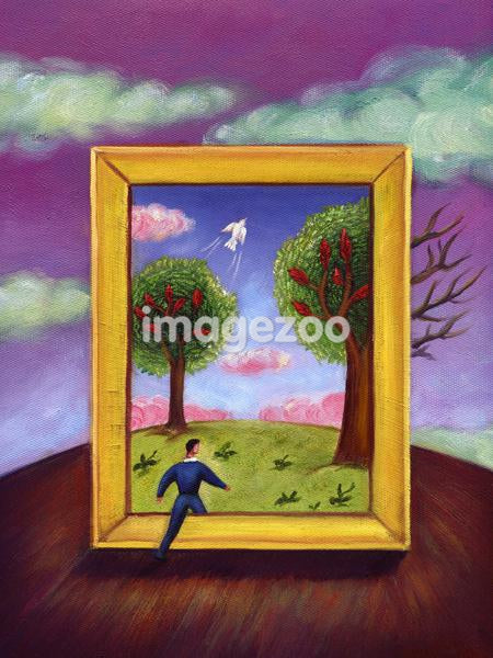 A man walking into a picture frame