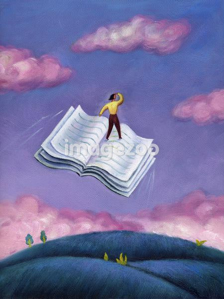 A woman standing on a flying book