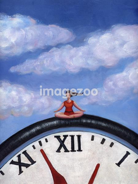 A woman doing yoga on a giant clock