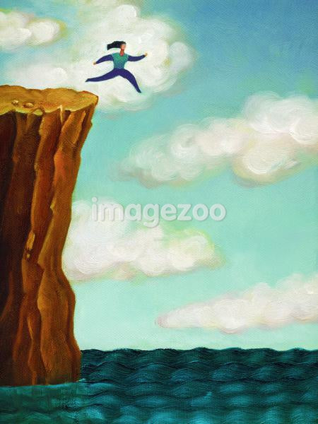 A woman running off a cliff into the sea