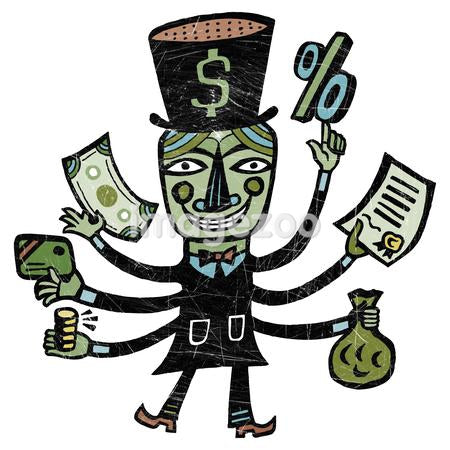 A man with top hat and six arms holding various types of money