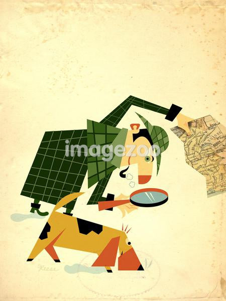 A detective holding map and looking through magnifying glass, with a bloodhound dog sniffing the ground beside him