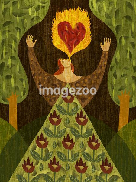 A woman in a forest, breathing fire with heart-shape in it