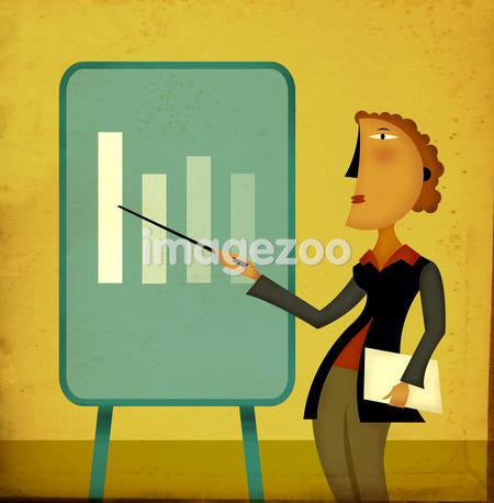 A businesswoman pointing to a chart