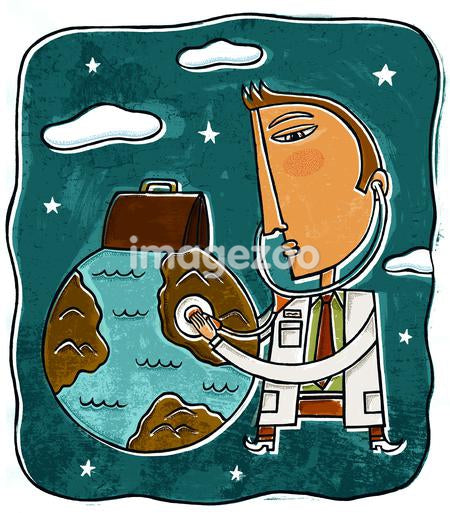 A doctor listening to the earth with a stethoscope