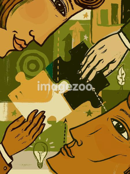 A man and woman looking at each other, with two hands joining puzzle pieces together