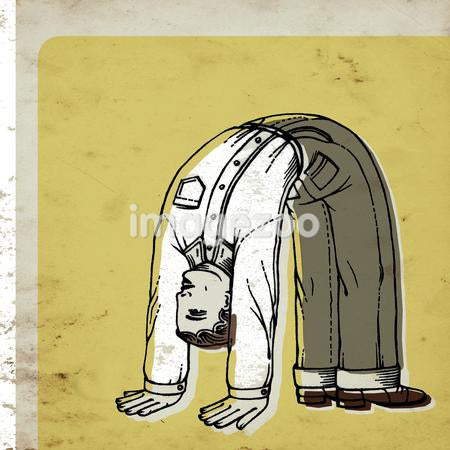 A businessman flexing backwards