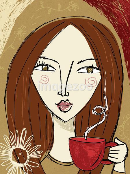 A woman holding a red mug of steaming coffee