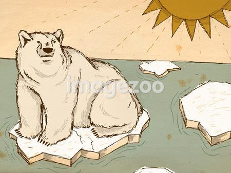 A polar bear floating on melting ice as the sun shines down