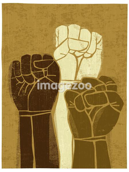 Illustration of three clenched fists