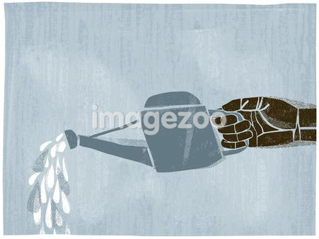 Illustration of a hand using a watering can