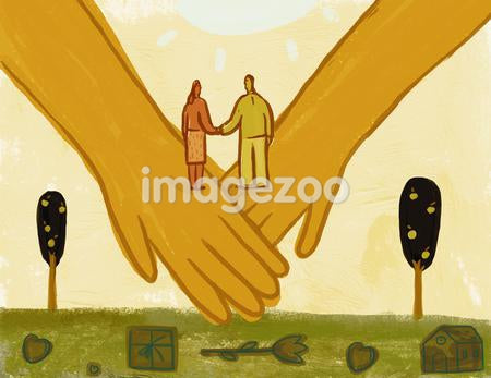 A couple holding hands, standing on two large joined hands over hearts, a gift, a house and a flower