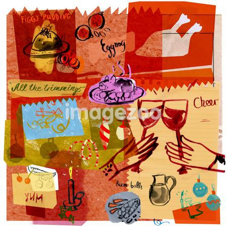 A collage illustration of a Christmas feast
