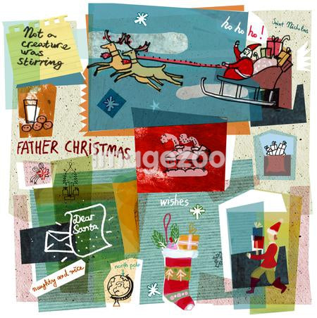 A collage illustration Santa Claus delivering gifts on his sleigh