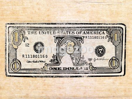 An illustration of an American one dollar note.