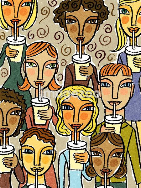 An illustration of a group of diverse woman all drinking with straws