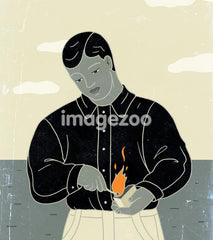 A print of a man lighting a match