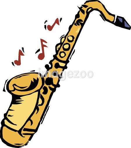 A yellow saxophone and musical notes