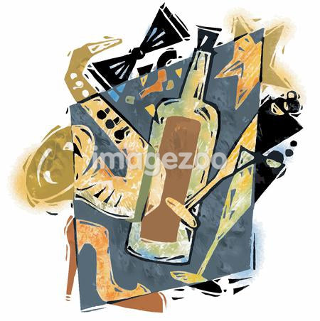 Collage of saxophone, wine bottle, glasses and a stiletto shoe