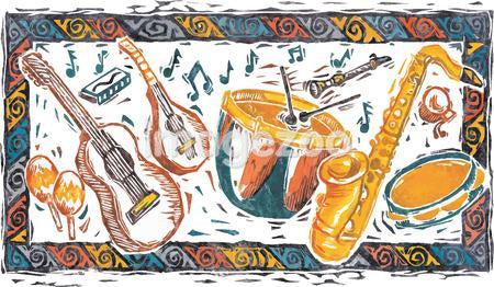 Various musical instruments including drums, guitars, saxophone and maracas within a rectangular border