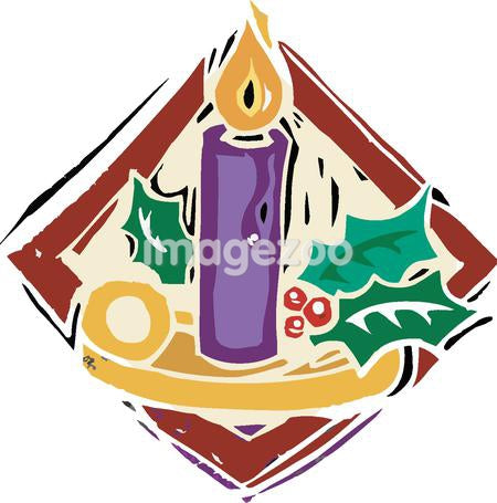 Closeup of a purple candle and holly