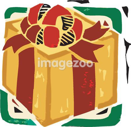 Closeup of a Christmas gift wrapped in yellow paper and red bow